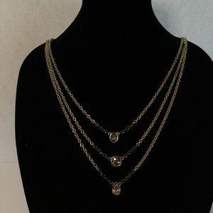 Jessica Simpson Two Tone Chain Rhinestone Necklace